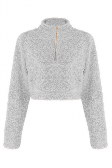 Plain Stand Collar Faux Fur Long Sleeve Half-Zip Cropped Sweatshirt