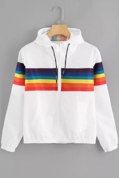 Rainbow Striped Long Sleeve Zip Placket Hooded Track Jacket