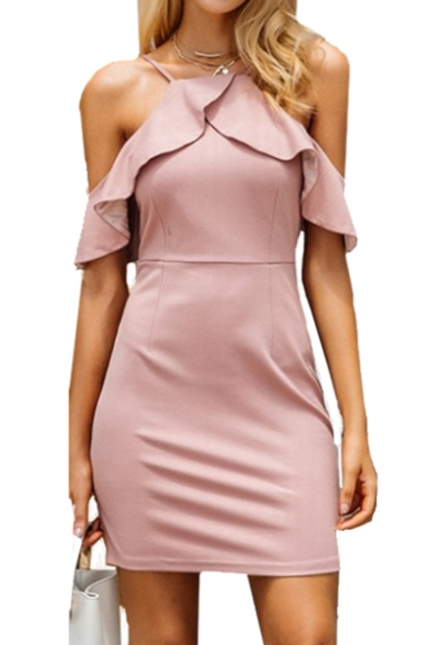Sexy Cold Shoulder Ruffle Detail Plain Short Sleeve Mini Bodycon Dress