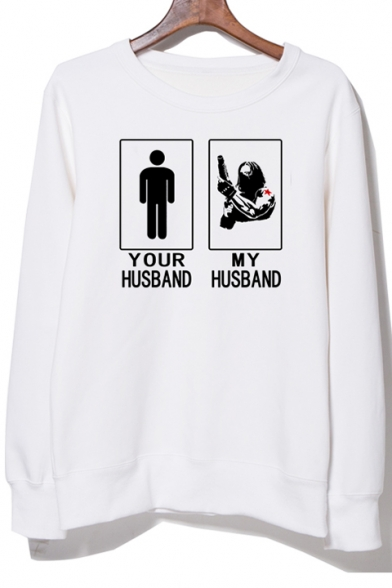 YOUR HUSBAND Letter Character Print Round Neck Pullover Sweatshirt