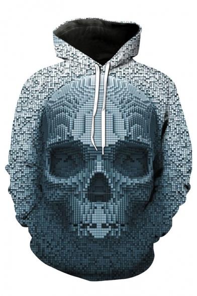 3D Geometric Skull Print Long Sleeve Casual Hoodie