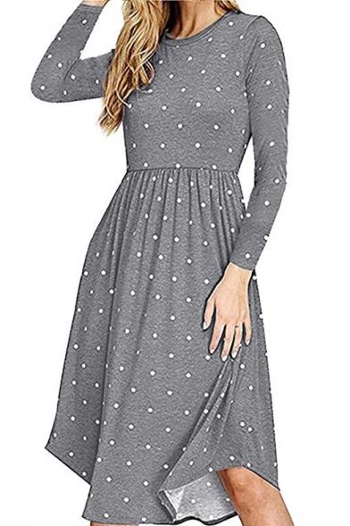 Casual Polka Dot Print Round Neck Long Sleeve Midi A-Line Dress