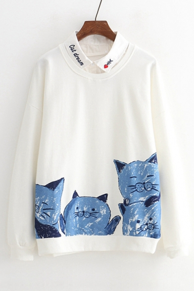 Letter Embroidered Contrast Lapel Collar Cat Print Long Sleeve Layered Sweatshirt