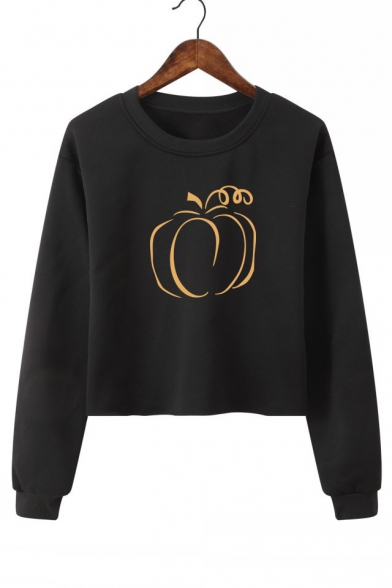 Pumpkin Pattern Round Neck Long Sleeve Sweatshirt