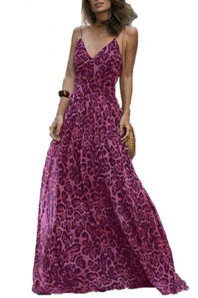 Spaghetti Straps Sleeveless Leopard Print Maxi Cami Dress