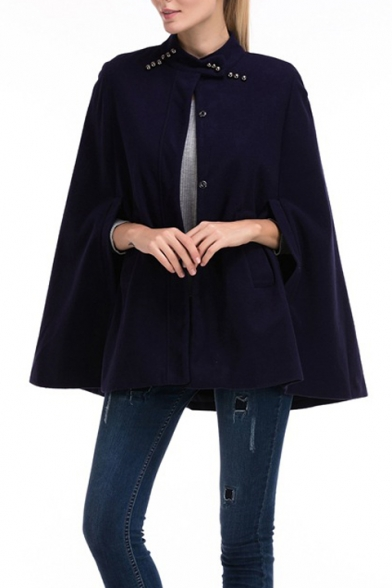 Stand Collar Button Front Cut Out Sleeve Plain Cape Coat