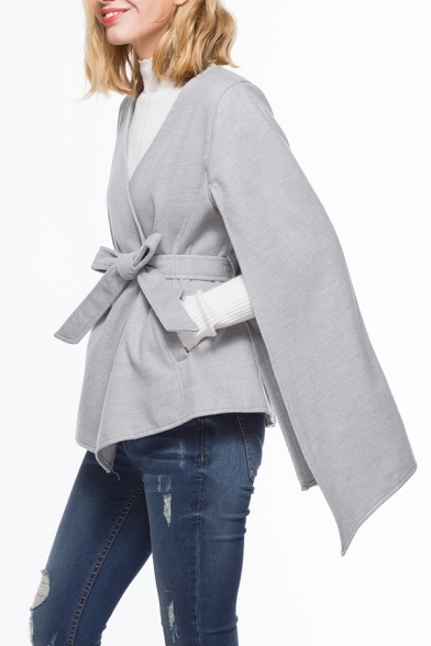 Women's Stylish V Neck Tied Waist Solid Slim Fitted Fleece Cape Coat