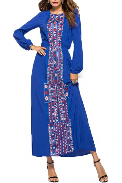 Bohemia Style Floral Round Neck Long Sleeve Maxi A-Line Dress