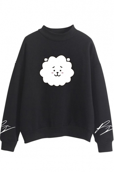 Korean Star Cartoon Sheep Print Mock Neck Long Sleeve Sweatshirt