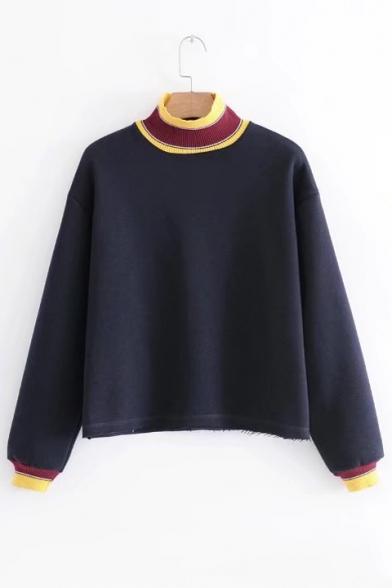 Contrast Rib Knit Trim Mock Neck Long Sleeve Casual Sweatshirt