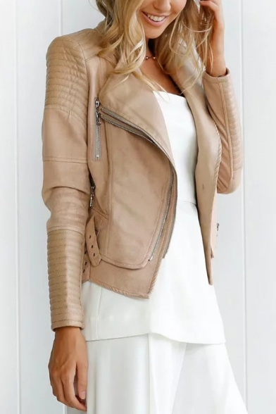 Fashion Zip Embellished Long Sleeve Slim Fitted PU Biker Jacket