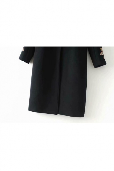 Floral Embroidered Long Sleeve Notched Lapel Collar Single Button Tunic Woolen Coat