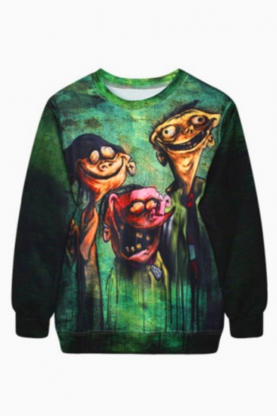 Green Crew Neck Long Sleeve Digital Cartoon Printed Long Sleeve Pullover Sweatshirt