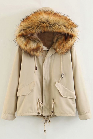 Winter Collection Plain Long Sleeve Faux Fur Trim Hood Zip Up Hooded Jacket