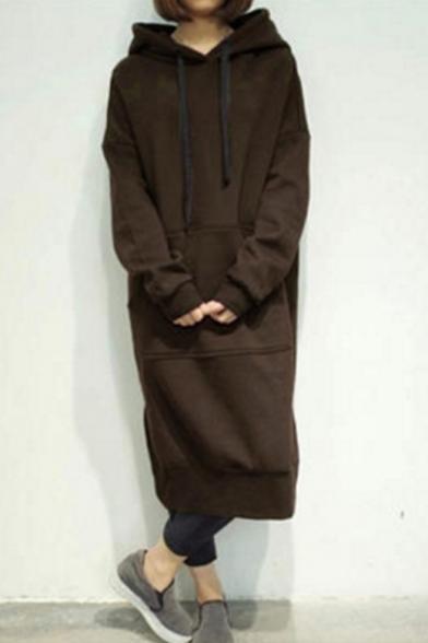 Drawstring Hood Plain Long Sleeve Tunic Maxi Hoodie Dress