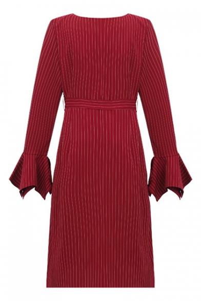 Elegant Striped V neck Long Sleeve Tie Waist Midi Asymmetrical Dress