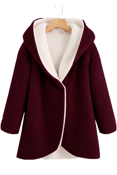 Faux Fur Plain Long Sleeve Tunic Hooded Coat for Woman