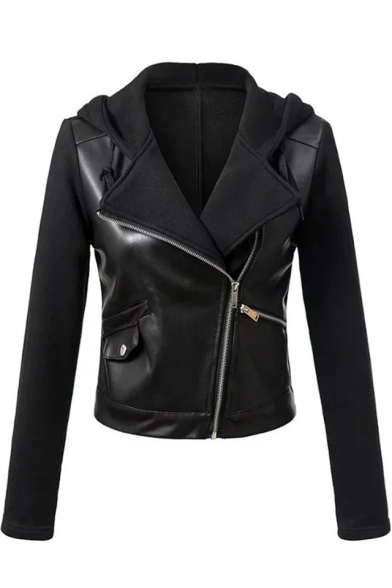 Leather Patchwork Offset Zipper Front Long Sleeve Cropped Biker Jacket