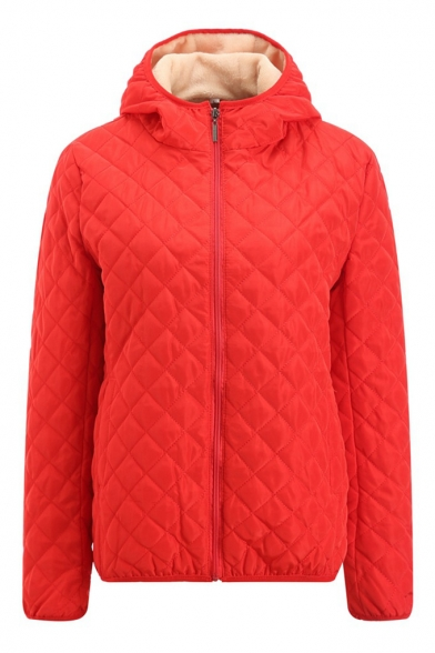 Quilted Plain Long Sleeve Zip Placket Hooded Jacket