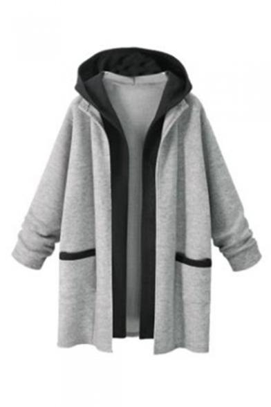 Winter's New Stylish Long Sleeve Two-Tone Patchwork Cardigan Coat
