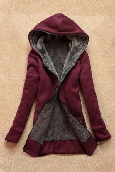 Zip Up Plain Long Sleeve Faux Fur Lined Hooded Jacket