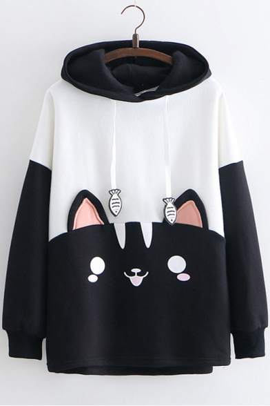 Cat Pattern Color Block Fish Embroidered Detail Drawstring Hood Long Sleeve Hoodie