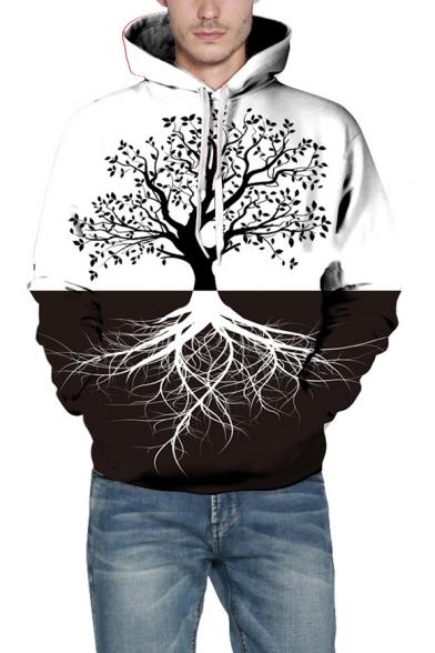 Color Block Tree Print Long Sleeve Unisex Hoodie