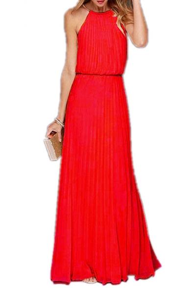 Elegant Halter Sleeveless Plain Pleated Maxi A-Line Dress