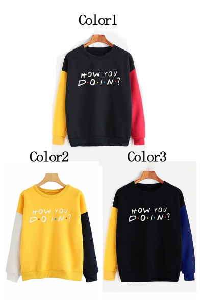 HOW YOU Letter Color Block Round Neck Long Sleeve Pullover Sweatshirt