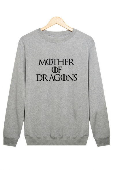 MOTHER OF DRAGONS Letter Print Round Neck Long Sleeve Sweatshirt