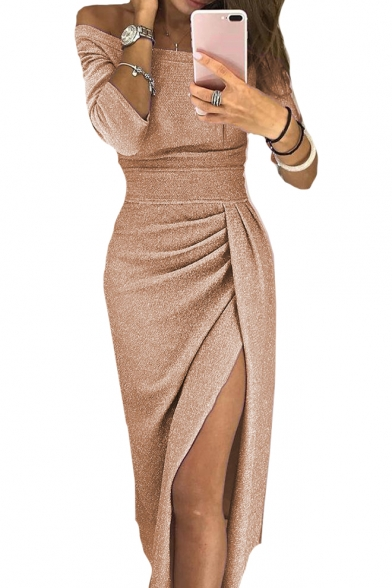 Sexy Shiny Off The Shoulder 3/4 Length Sleeve Split Front Midi Pencil Dress