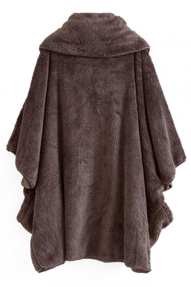 Winter Collection Plain Mock Neck Faux Fur Oversized Cape Coat