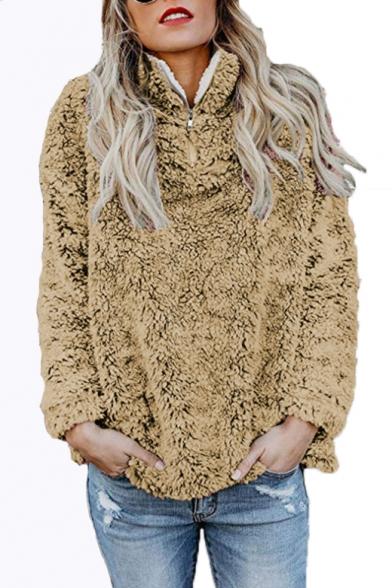 Winter Stand Collar Long Sleeve Faux Fur Half-Zip Sweatshirt