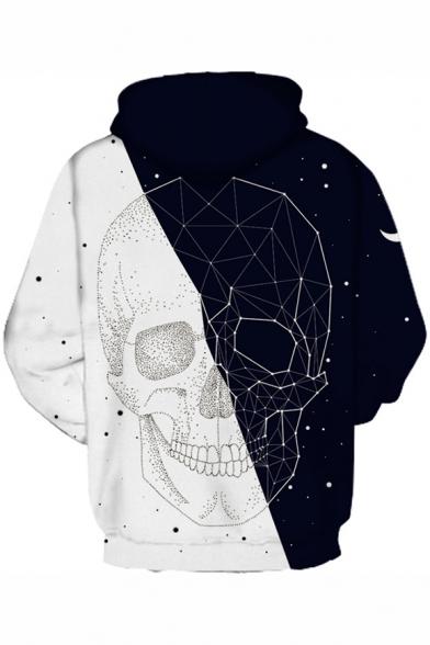 Color Block Skull Geometric Print Long Sleeve Casual Hoodie