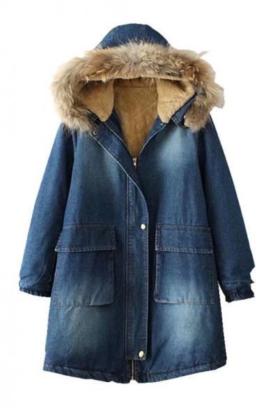 Blue Faux Fur Trimmed Parka Jacket