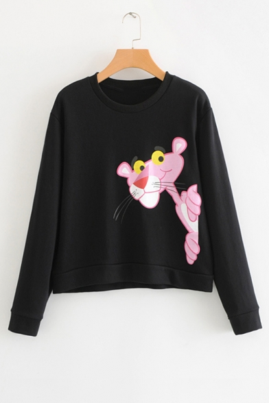 Lovely Cartoon Animal Print Round Neck Long Sleeve Pullover Sweatshirt for Woman
