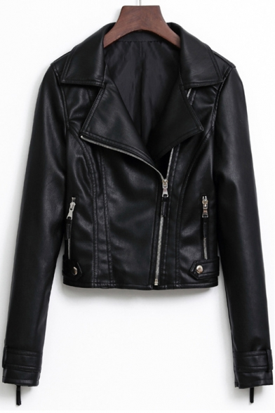 Notched Lapel Collar Long Sleeve Offset Zip Closure Cropped Leather Jacket LC487833 фото