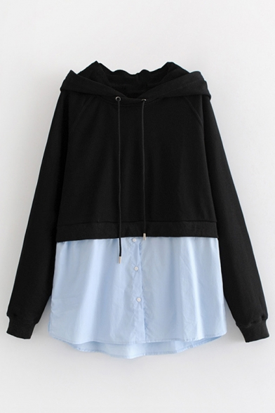 Shirt-Style Contrast Patchwork Long Sleeve Casual Hoodie