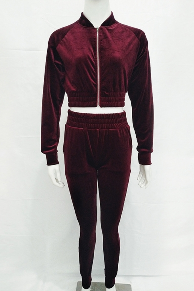 Velvet Stand Up Collar Raglan Long Sleeve Zip Up Cropped Jacket with High Waist Slim Pants Co-ords