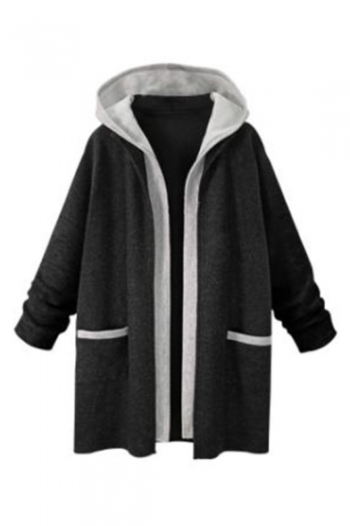 Winter's New Stylish Long Sleeve Two-Tone Patchwork Cardigan Coat
