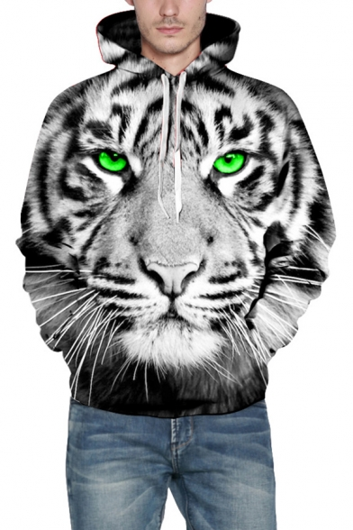 3D Tiger Pattern Long Sleeve Casual Hoodie