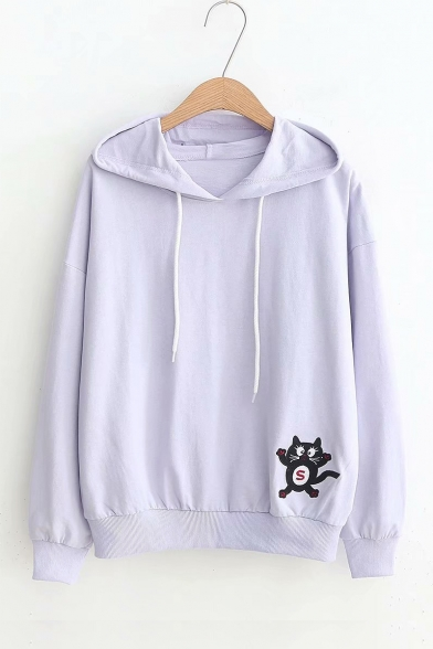 Comic Cat Embroidered Long Sleeve Casual Hoodie