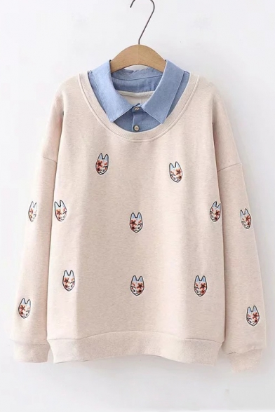 Contrast Lapel Collar Cat Floral Embroidered Long Sleeve Sweatshirt