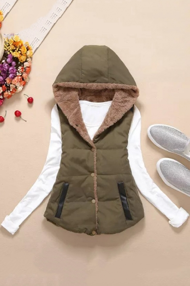 Contrast Leather Patchwork Button Front Sleeveless Hooded Jacket