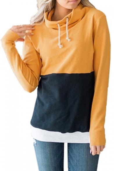 MocL Womens Casual Tee Hoodie Fashion Color Block Drawstring Outdoor Letter Print T-Shirt Sweatshirt