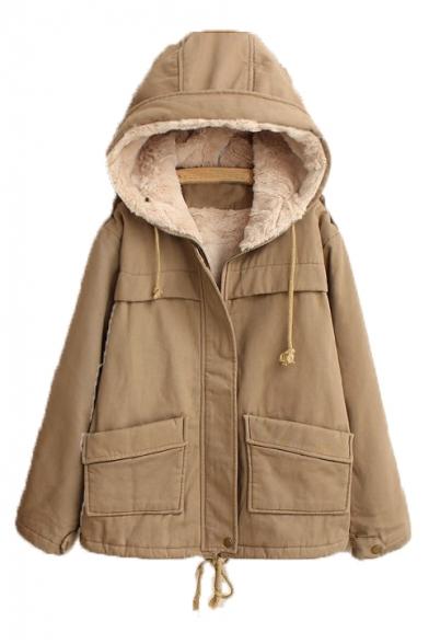 Faux Fur Lined Plain Long Sleeve Zip Placket Hooded Jacket
