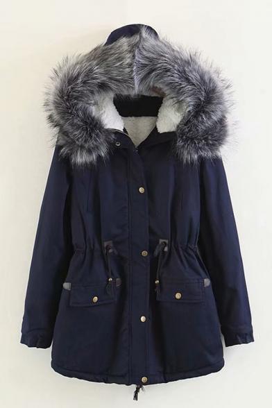 Faux Fur Trim Hood Plain Long Sleeve Zip Up Drawstring Waist Hooded Coat