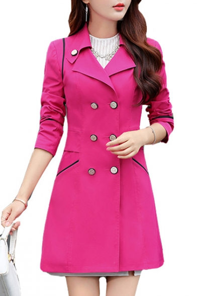 Notched Lapel Collar Double Breasted Long Sleeve Plain Trench Coat