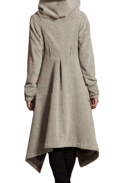 Popular Long Sleeve Plain Asymmetric Hem Zip Up Hooded Coat