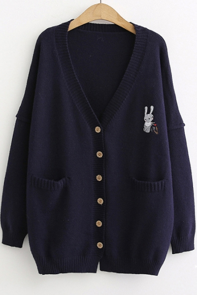 Rabbit Embroidered Button Front Long Sleeve Tunic Cardigan with Pockets, LC487971, Beige;navy